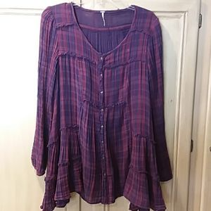 Free People button-down purple plaid flannel top